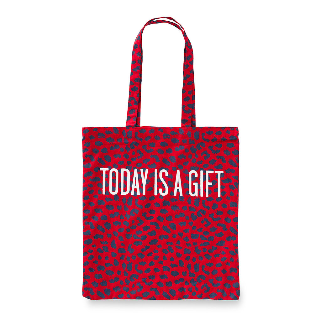 Cotton bag red/leopard