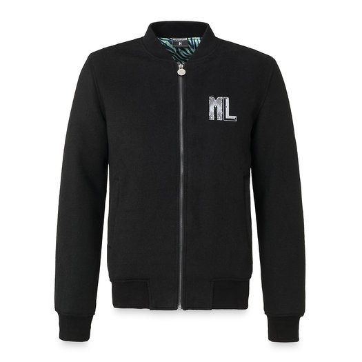 Wool bomber jacket black/white