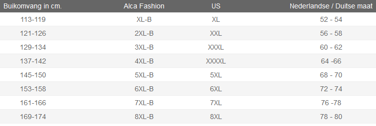 Maattabel Alca T-shirts