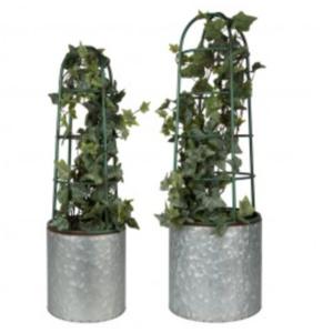 Esschert Design Bloembak met plantensteun set/2
