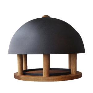 Esschert Design Voedertafel eiken rond zwart dak