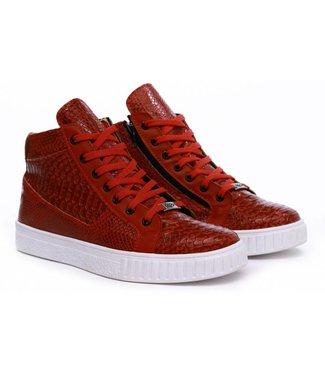 Manzotti Pietro Hoge Crocodile Sneaker Red