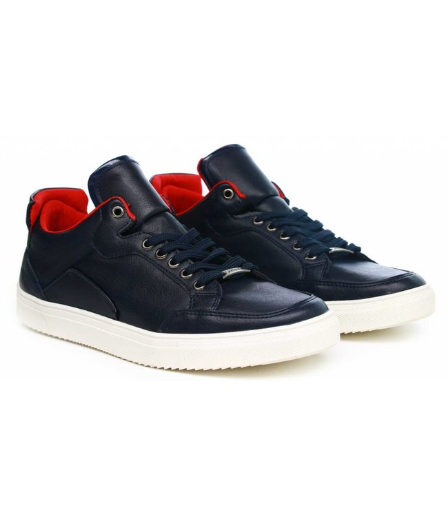 Manzotti Carrano Lage Nette Leren Sneakers Navy