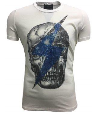 G-Brand Skull stretch Slim Fit - Wit