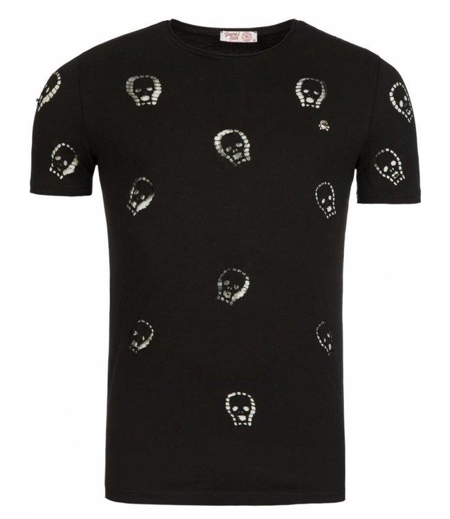Young & Rich Tunica T-shirt Skull Zwart