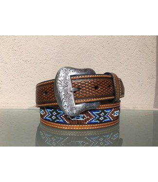 Nocona Leather belt with beads