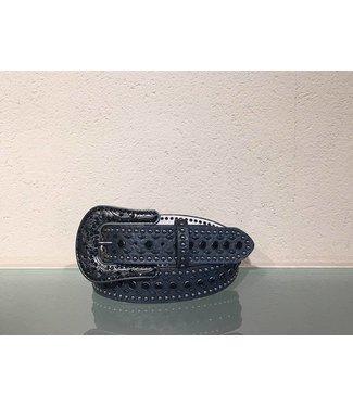 Nocona Black leather belt with studs and rhinestones