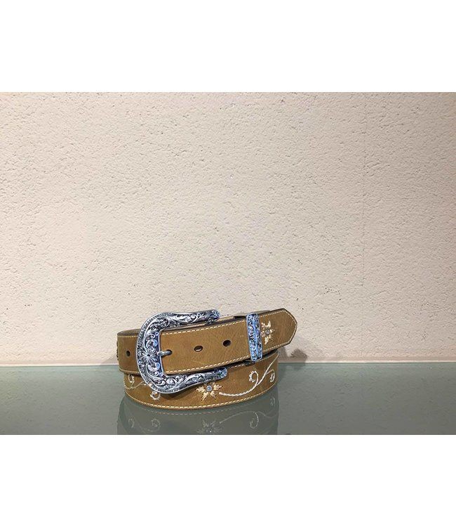 Nocona Leather belt with rhinestones and embroidery