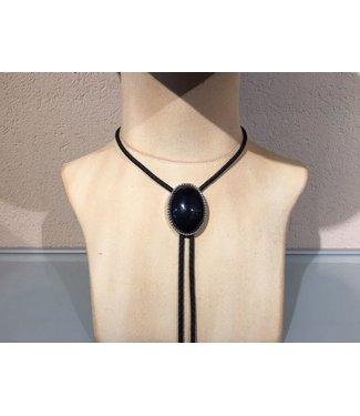 Bolo tie ovale zwarte steen