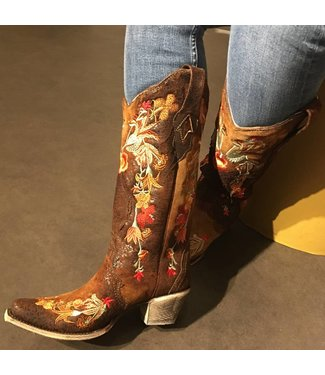 Corral Brown cowboy boot with floral embroidery