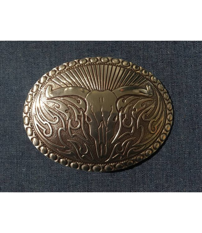 Crumrine Silver-colored Western Buckle with longhorn cow