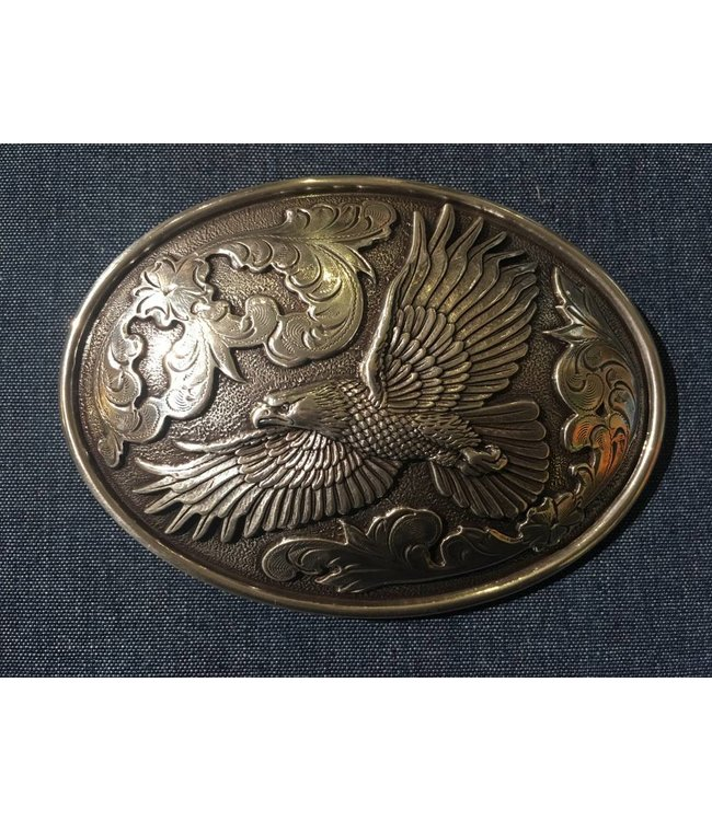 Silver metal buckle with eagle