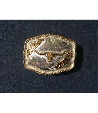 Silver colored buckle with longhorn cow