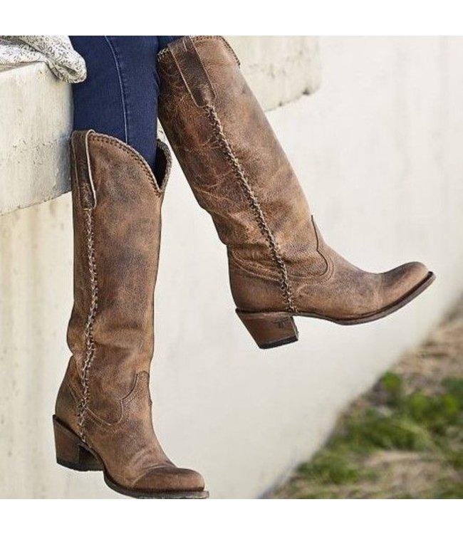 90442425905 High top brown ladies western boot Plain Jane