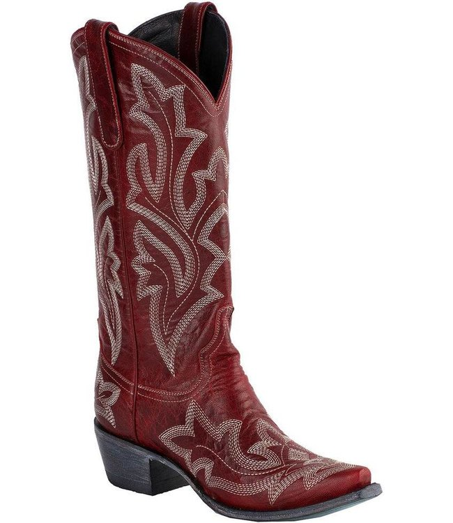 Lane Red leather cowboy boots with Ecru stitching
