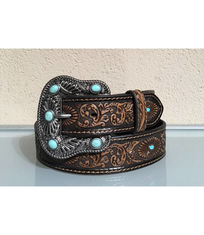 Nocona Brown leather belt with buckle with turquoise