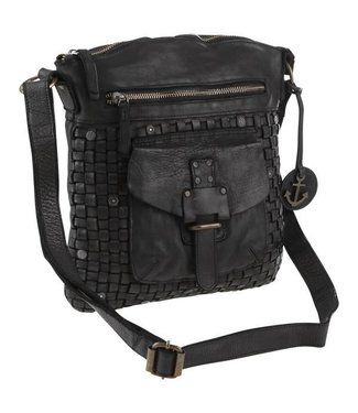 Harbour 2nd Black leather bag braided Aurora