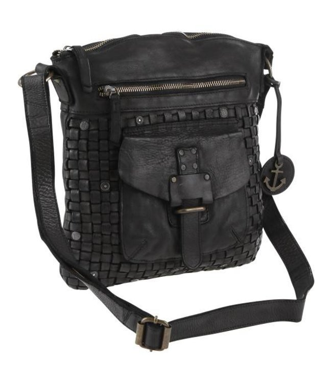e05afdc044e Black leather handbag with woven front, pockets and smal metal studs