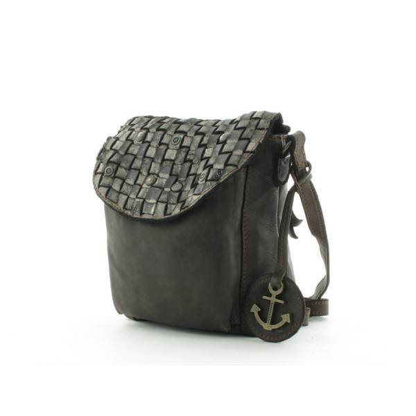 f324940a316 Leather woven bag, metal studs, lots of pockets, black cow leather