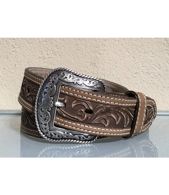 Nocona Sand leather belt tooled