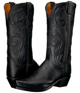 Lucchese Black leather cowboy boot