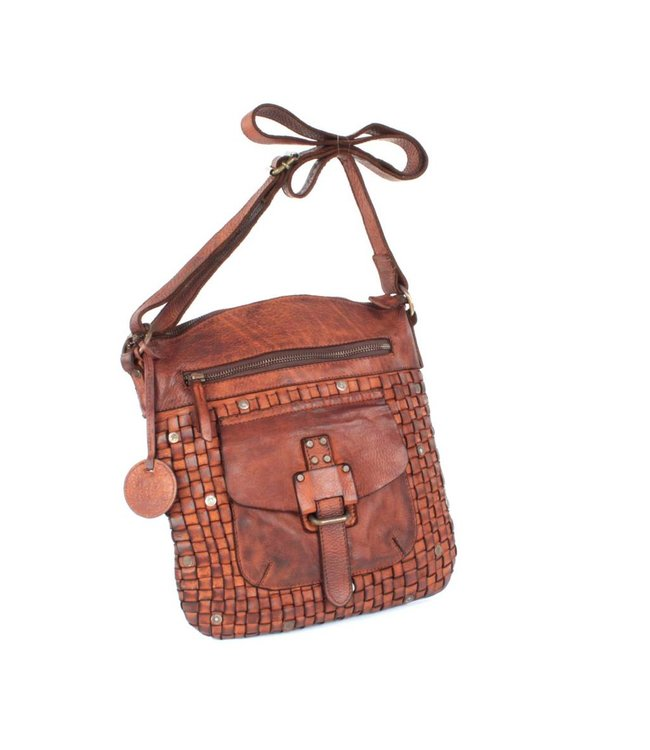 Harbour 2nd Brown leather bag braided Aurora