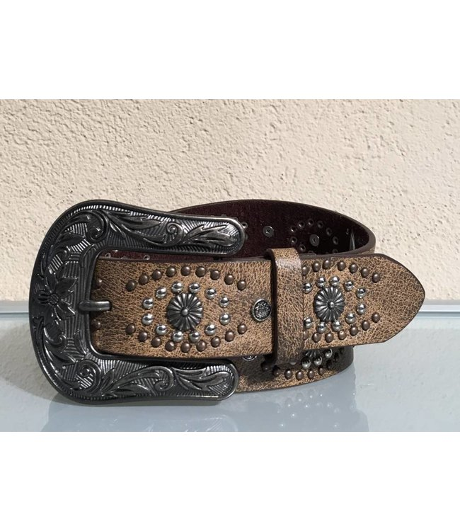 Nocona Belt Company Brown leather belt with studs