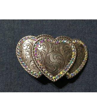Silberfarbene Schnalle drei Herzen