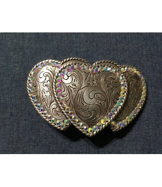 Silver metal buckle three hearts