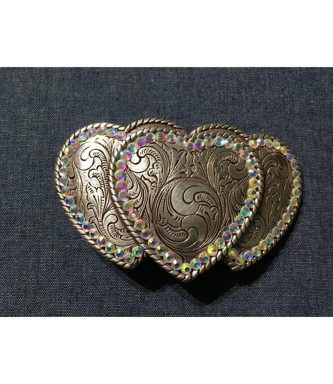 Silver metal buckle three hearts