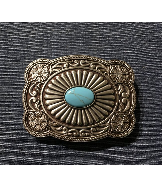 Silver metal buckle with turquoise and flowers