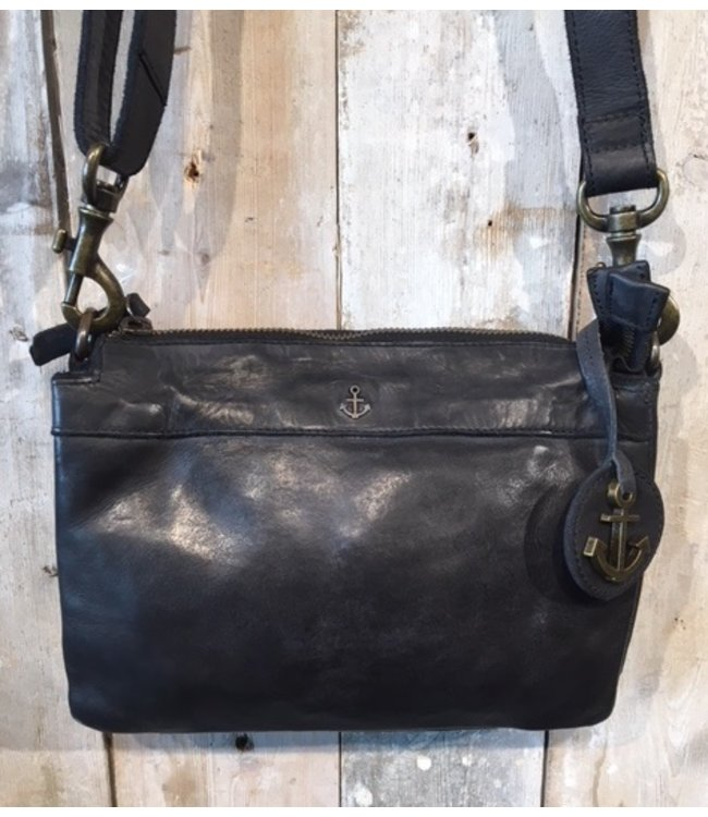 Harbour 2nd Black leather bag with zip compartments