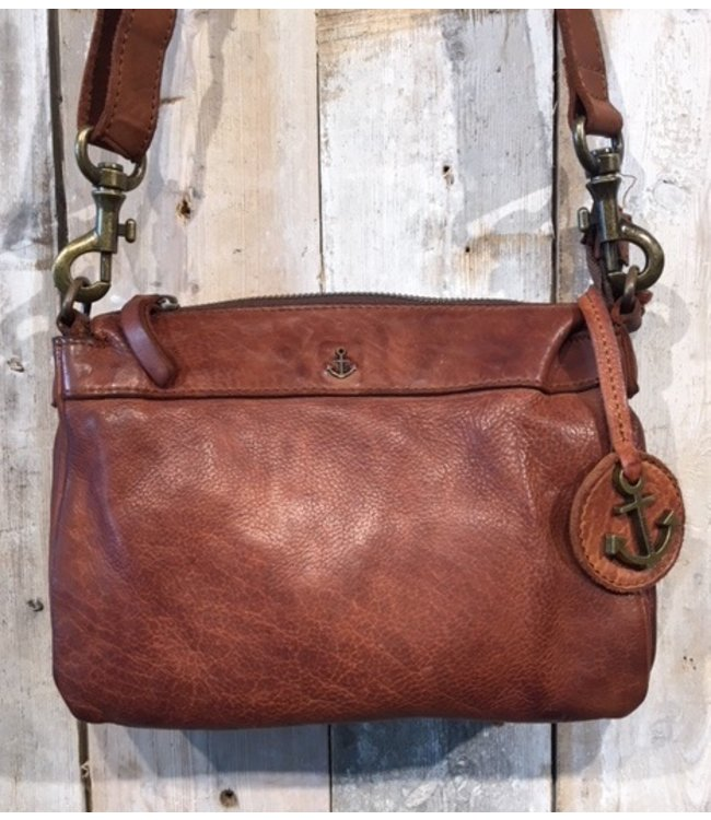 Harbour 2nd Brown leather bag with zip compartments