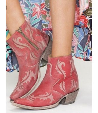 Corral Red leather ankle boot