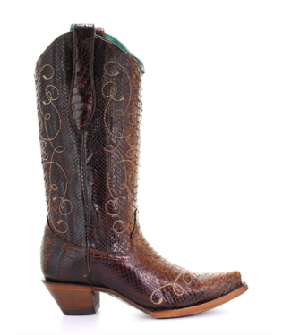 Corral  Brown python leather cowboy boots
