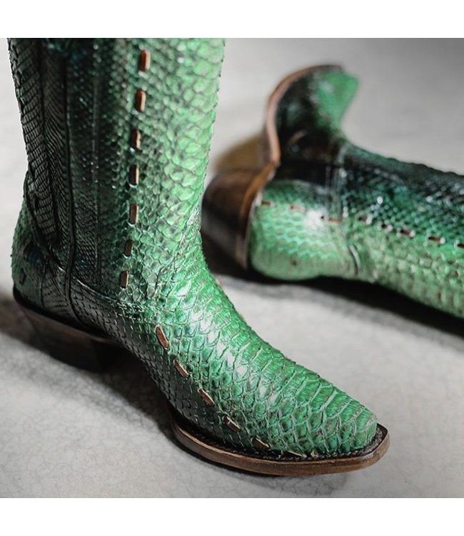 Corral Green python leather cowboy boots