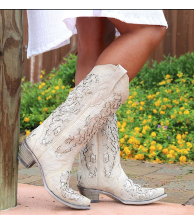 Corral Western Laarzen White western boots with sparkles
