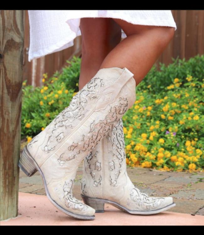 Corral Western Laarzen Witte westernlaarzen met glitters