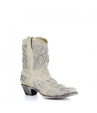 Corral  Short white leather western boots