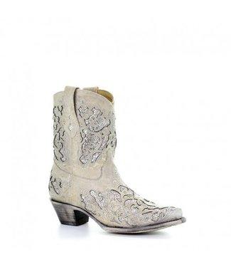 Corral Western Laarzen Korte witte leren western laarzen