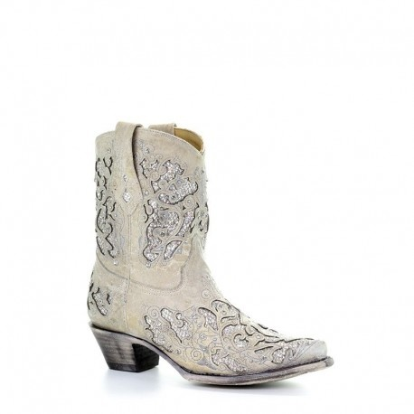 Western boots | Corral | White with Glitter