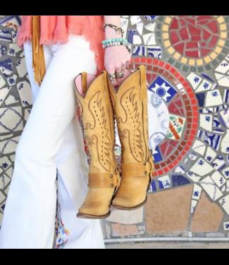 Junk Gypsy Hoher gelber Westernstiefel aus Leder