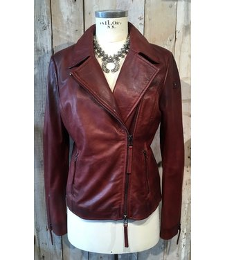 Milestone Burgundy leather jacket with zippers