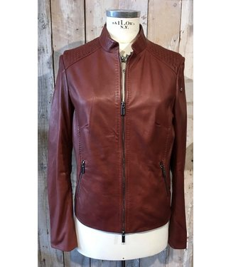 Milestone Brown leather jacket with special detail