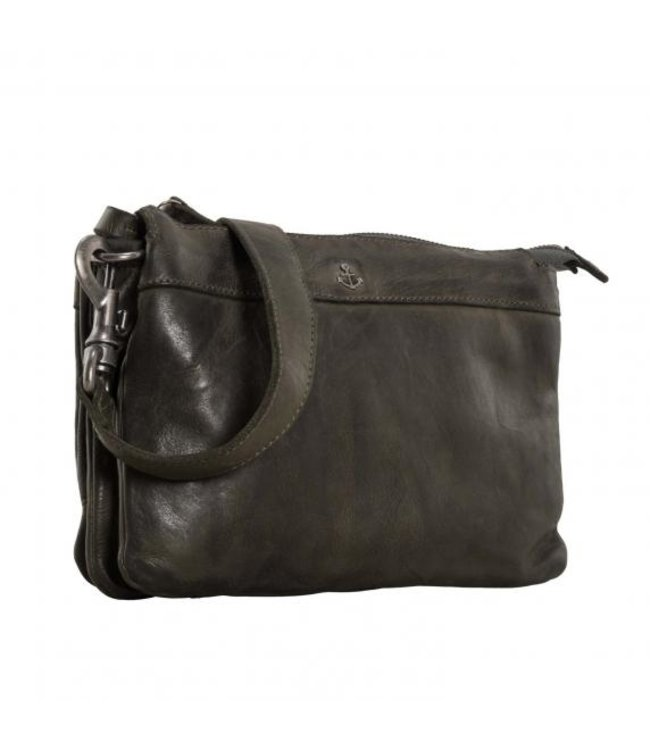 Harbour 2nd Olive green leather bag with zip compartments