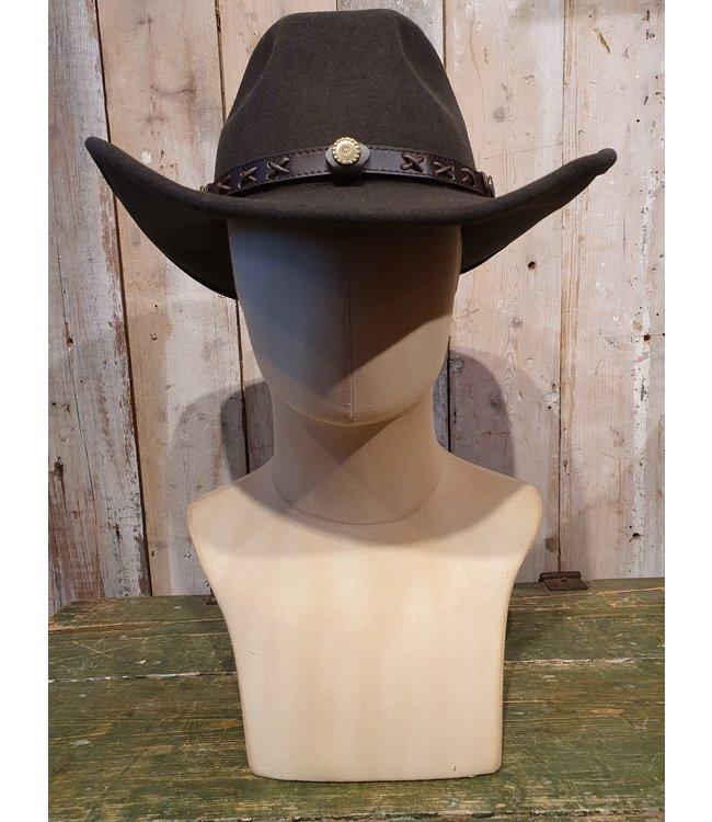 Twister Donkerbruine western hoed