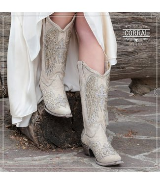 Corral  White western boots with glitter