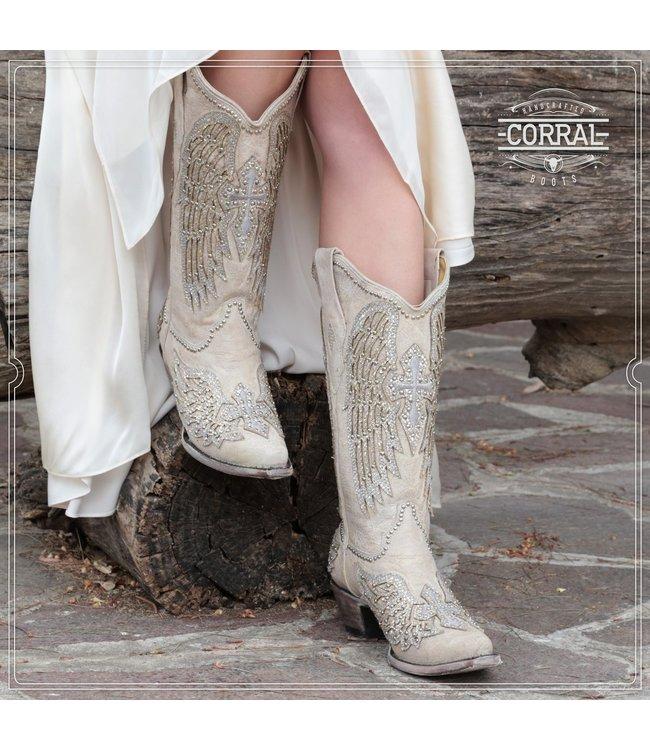 Corral  Witte westernlaarzen met glitters