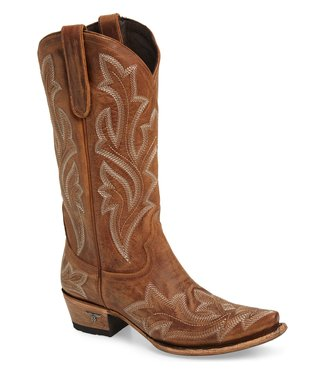 Lane Brown  leather western boots with ecru stitching