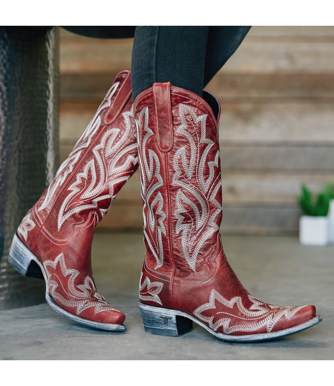 Lane Red leather cowboy boots